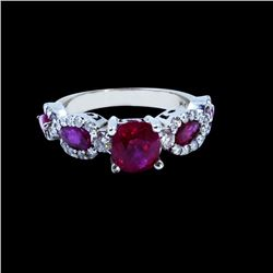 2.09CT NATURAL RUBY 14K WHITE GOLD RING