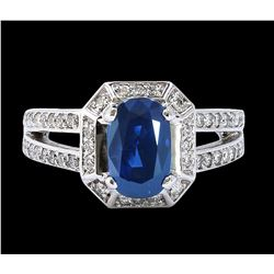 GIA 3.22CT NATURAL CEYLON BLUE SAPPHIRE 14K WHITE GOLD RING