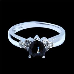 1.19CT TREATED BLACK DIAMOND 14K WHITE GOLD RING