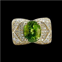 5.53CT NATURAL BURMA PERIDOT 14K Y/G RING