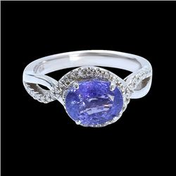 2.70CT NATURAL TANZANITE 14K WHITE GOLD RING