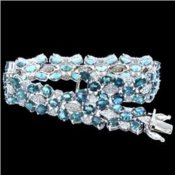 15.93CT NATURAL ALEXANDRITE 14K WHITE GOLD  BRACELET