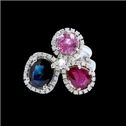 NATURAL 2.29CT CEYLON PINK SAPPHIRE AND 1.30CT RUBY 14k W/G RING