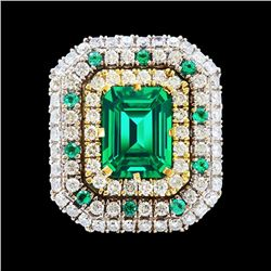 GIA 10.70CT NATURAL COLOMBIAN EMERALD 18K WHITE AND YELLOW GOLD RING