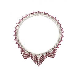 GIA 52.2CT BURMA RUBY 18K WHITE GOLD NECKLACE