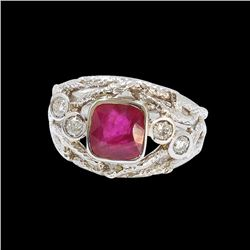 2.17CT NATURAL RUBY 14K WHITE GOLD RING