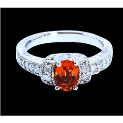 1.07CT NATURAL SPESSARTITE 14K WHITE GOLD RING