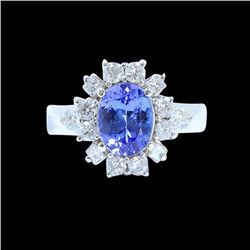 1.97CT NATURAL TANZANITE 14K WHITE GOLD RING