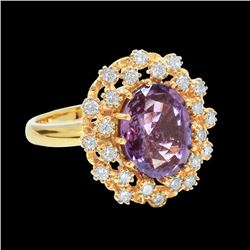 4CT NATURAL PURPLE SAPPHIRE 14K WHITE GOLD CEYLON RING