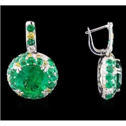GIA 17.47CT NATURAL COLOMBIAN EMERALD RING & EARRING 18K W/G