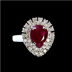 GIA 2.53CT NATURAL RUBY 18K WHITE GOLD RING
