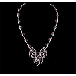GIA 31.22CT Natural Burma RUBY  18K WHITE GOLD NECKLACE