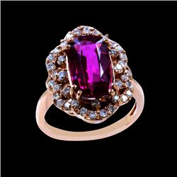 4.25CT NATURAL RUBELLITE 18K ROSE GOLD  RING