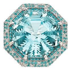 GIA NATURAL 35.50CT AQUAMARINE / 1.40CT PARAIBA TOURMALINE GIA 18k Ring