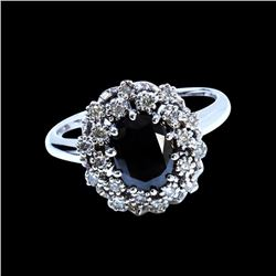1.24CT TREATED BLACK DIAMOND 14K WHITE GOLD RING