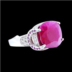 15.53CT NATURAL RUBY 14K WHITE GOLD RING