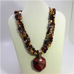 Mookaite Necklace With Pendant Red