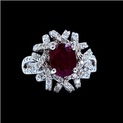 3.56CT NATURAL RUBY 14K WHITE GOLD RING
