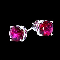 4.00CT NATURAL RUBELLITE 14K WHITE GOLD EARRING