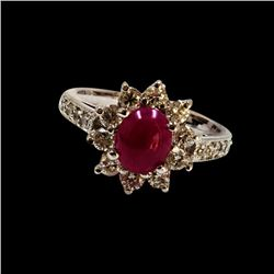 1.56CT NATURAL RUBY 14K WHITE GOLD RING