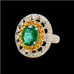 3.64CT NATURAL COLOMBIAN EMERALD 14K WHITE GOLD RING