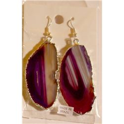 1700 Sp Agate Slice Plated Purple Sp Earring Jewelry