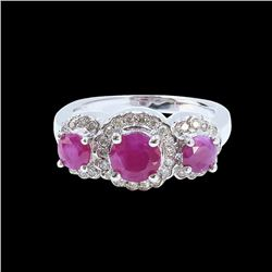 1.87CT NATURAL RUBY 14K WHITE GOLD RING
