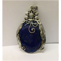 Lapis Lrg Oval Inlay W/Design Sterling Silver Pendant