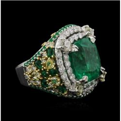 GIA 9.23CT NATURAL COLOMBIAN EMERALD 18K PLATINUM RING