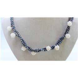 Fresh Water Pearl With Ball Necklace