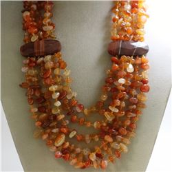 Natural Gem Stones Carnelian Multi Stand Necklace