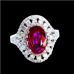 3.06CT NATURAL RUBY 14K WHITE GOLD RING