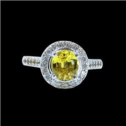 GIA 2.32CT NATURAL CEYLON YELLOW SAPPHIRE 14K WHITE GOLD RING