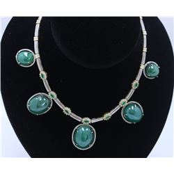 165.43CT Natural COLOMBIAN Emerald 14k White And Yellow gold Neckalce