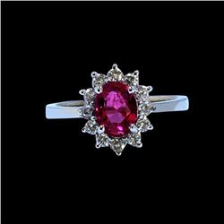 1.33CT NATURAL CEYLON PINK SAPPHIRE 14K WHITE GOLD RING