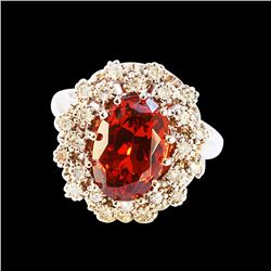 4.88CT NATURAL MALAYA GARNET 14K WHITE GOLD RING