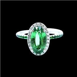 3.38CT NATURAL TSAVORITE 14K W/G RING