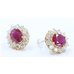 14K YELLOW GOLD RUBY EARRING