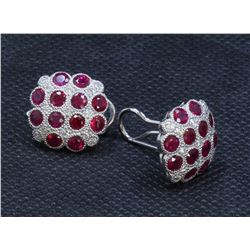 14K WHITE GOLD RUBY EARRING