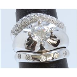 14K WHITE GOLD 3 PCS RING:12.59g/Diamond:0.6ct/Center Cubic zirconia:1ea