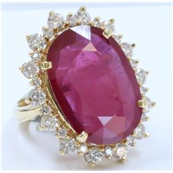 14K YELLOW GOLD RING:8.79g/Diamond:0.36ct/Diamond:1.58ct/Ruby:19.11ct