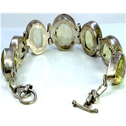 Sterling Silver .925 with light green stone bracelet 40.04 gram