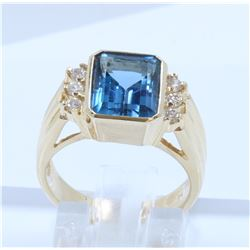 14K YELLOW GOLD BLUE TOPAZ RING:6.30 GRAMS/BLUE TOPAZ:3.00CT