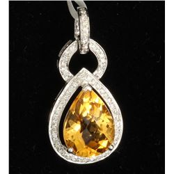 18K WHITE GOLD CITRINE PENDANT:3.01GRAMS/CITRINE:4.45CT/DIAMOND:0.31CT