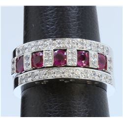 14K WHITE GOLD RINGS 3PCS: 9.14g / Diamond: 0.48ct / Ruby: 0.76ct