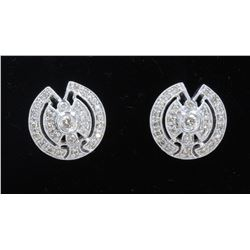 14K WHITE GOLD DIAMOND EARRING:6.90 GRAMS/DIAMOND:0.74 CT/#R8008