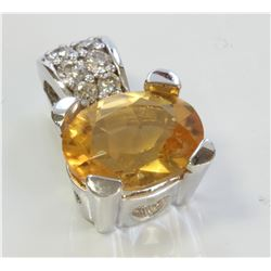 14K WHITE GOLD PENDANT:3.4g/Diamond:0.23ct/Citrine :2.19ct