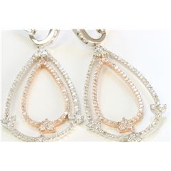 14K WHITE AND ROSE GOLD EARRING9.74GRAM /DIAMOND 3.60CT /#R8003