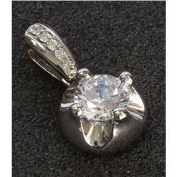 14K WHITE GOLD PENDANT:2.8g/Diamond BAIL :0.05ct/Center Cubic zirconia:1ea