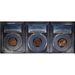 3 - PCGS INDIAN CENTS; 1907, 1908, 1909